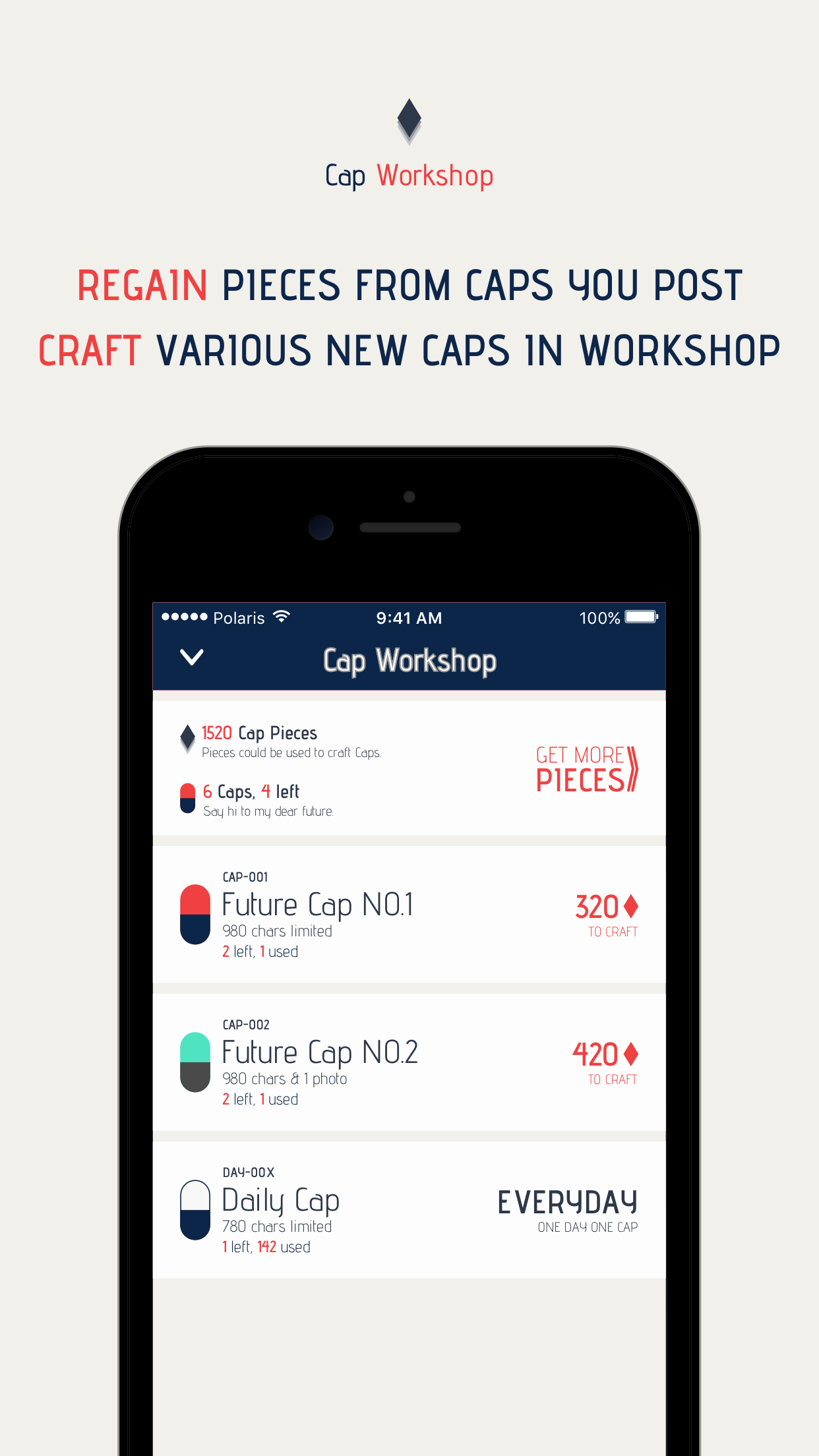 Craft Caps by Pieces in Workshop